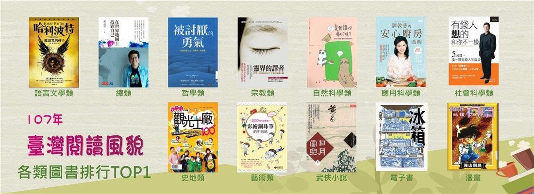 107年臺灣閱讀風貌,全民閱讀力持續成長-各類圖書排行TOP1
