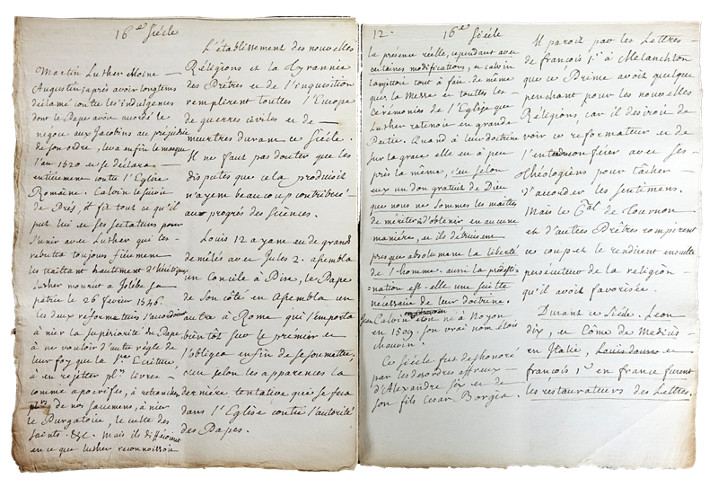 """Jean-Jacques Rousseau's manuscript for """"On Women and the Church."""""""