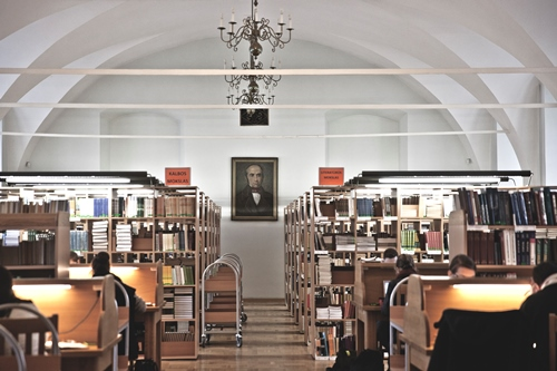 The Philosophy Reading Room is located at the 2nd Floor of the Central Library of Vilnius University