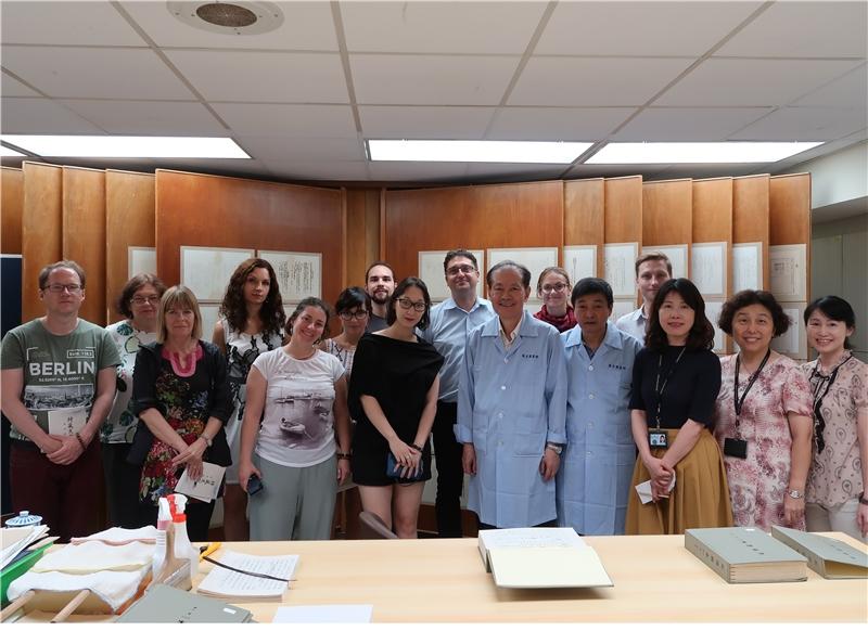 The delegation visits NCL's restoration room