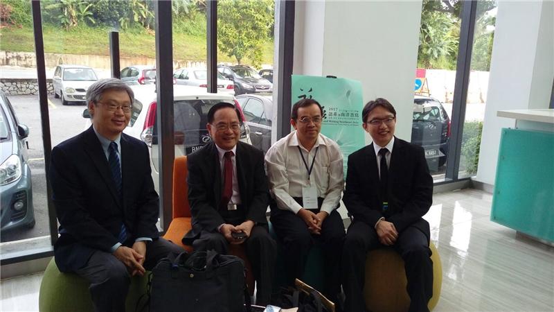 王德威教授、王潤華教授、李樹枝教授、陳志銳教授於下榻旅館合影