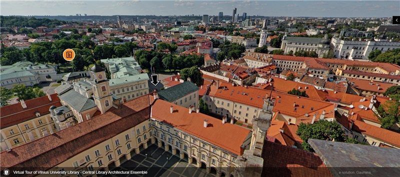 The oldest building of Vilnius University ensemble well retained the historical architectures