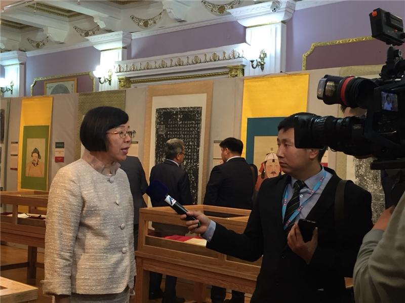 曾淑賢館長接受蒙古國家電視台訪問