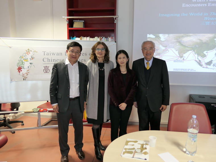 Group Photo Taken of Editor Chih-hong Chen, Professor Brezzi, Professor Chiung-yun Liu, and Officer Huang Rong Guo