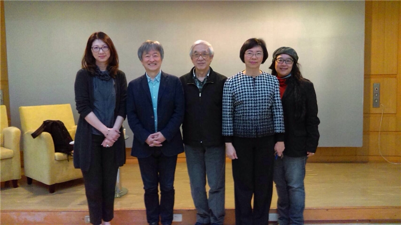 圖8:曾淑賢館長(右2)、松本猛先生(左2)、曹俊彥老師(中)、賴嘉綾老師(左1)、張東君老師(右1)合影