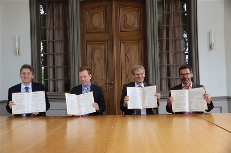 The Four Representatives of UZH Who Signed the TRCCS Cooperation Agreement; from left to right: Director of Institute of Asian and Oriental Studies, Prof. Dr. Wolfgang Behr, Vice President Faculty Affairs and Scientific Information, Prof. Dr. Christian Schwarzenegger, Dean of Faculty of Arts and Social Sciences, Prof. Dr. Klaus Jonas, Director of University Library Zurich, Prof. Dr. Rudolf Mumenthaler.