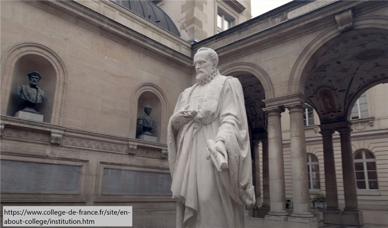 The statue of Guillaume Budé at the Collège de France