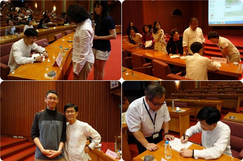 陳義芝老師為讀者簽書並與讀者合影