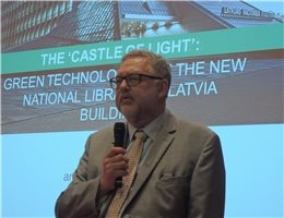 Director General Andris Vilks of the National Library of Latvia gives a presentation on