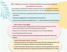 NCL Library service & Cultural activities Loosening epidemic prevention measures