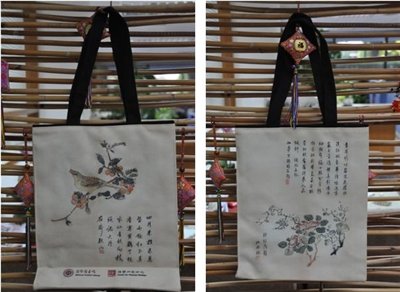 Tote bag with pictures of flowers and plants from the Ten Bamboo Studio Collection of Calligraphy and Painting